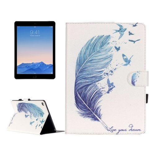 For iPad Air 2/iPad 6 Feather Pattern Flip Leather Case with Holder & Card Slots & Wallet