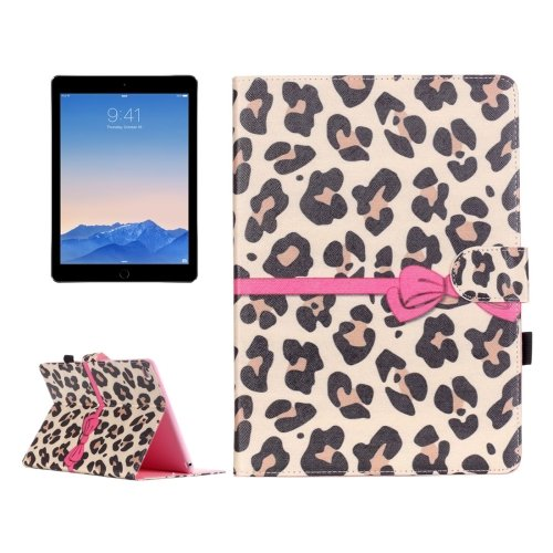 For iPad Air 2/iPad 6 Leopard Pattern Flip Leather Case with Holder & Card Slots & Wallet