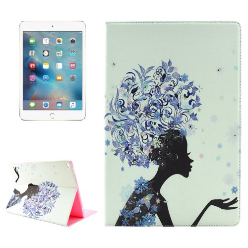 "For iPad Pro 12.9"" Flower Girl Pattern Diamond Flip Leather Case with Holder"