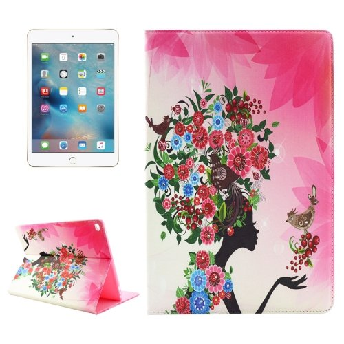 "For iPad Pro 12.9"" Colorful Flower Pattern Diamond Flip Leather Case with Holder"