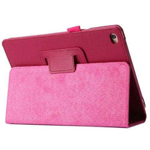 """For iPad Pro 12.9"""" Magenta Litchi Texture Flip PU Leather Protective Case with Holder"""