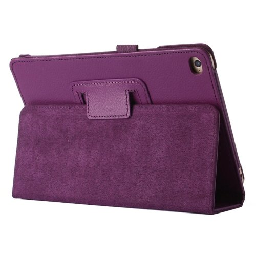 "For iPad Pro 12.9"" Purple Litchi Texture Flip PU Leather Protective Case with Holder"