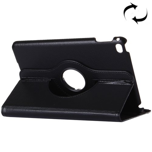"""For iPad Pro 12.9"""" Black Litchi Smart Cover Leather Protective Case with Rotating Holder"""