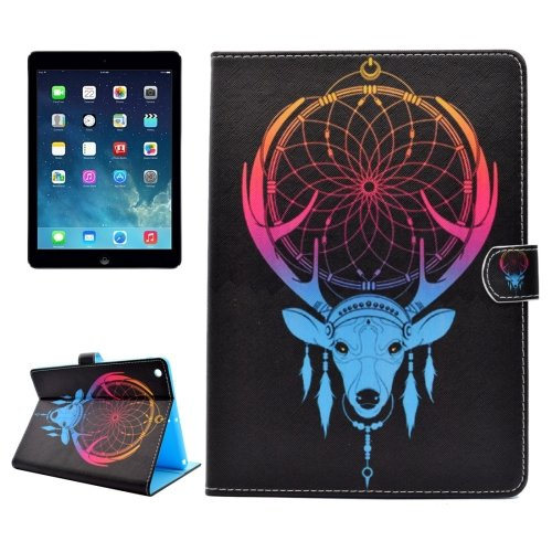 For iPad Air/iPad 5 Antlers Pattern Leather Case with Holder; Card Slots & Wallet
