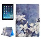 For iPad Air/iPad 5 Flowers Pattern Leather Case with Holder; Card Slots & Wallet