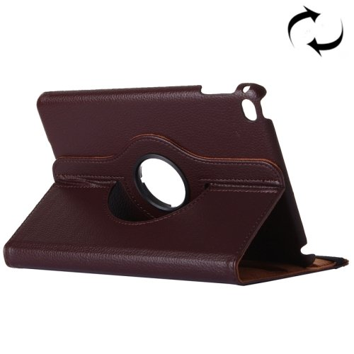 "For iPad Pro 12.9"" Coffee Litchi Smart Cover Leather Protective Case with Rotating Holder"