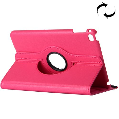 "For iPad Pro 12.9"" Magenta Litchi Smart Cover Leather Protective Case with Rotating Holder"