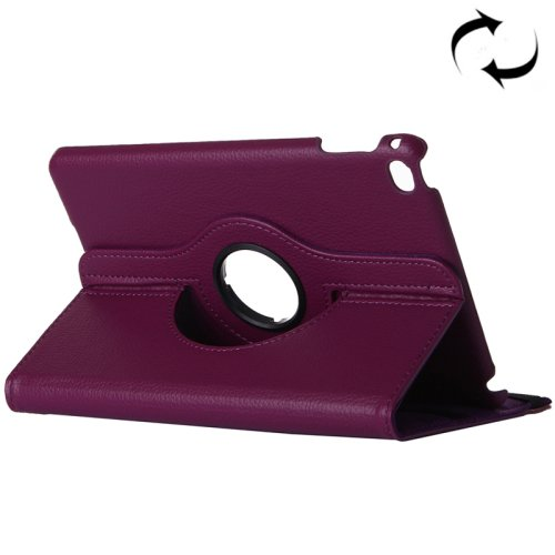 "For iPad Pro 12.9"" Purple Litchi Smart Cover Leather Protective Case with Rotating Holder"