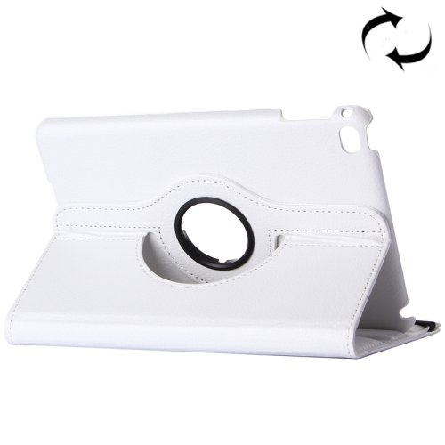 "For iPad Pro 12.9"" White Litchi Smart Cover Leather Protective Case with Rotating Holder"