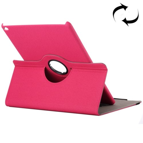 "For iPad Pro 12.9"" Magenta Cloth Smart Cover Leather Case with Rotating Holder & Card slots"