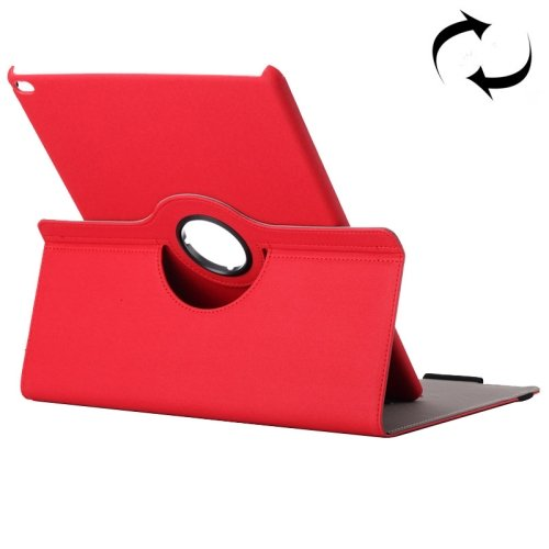 """For iPad Pro 12.9"""" Red Cloth Smart Cover Leather Case with Rotating Holder & Card slots"""