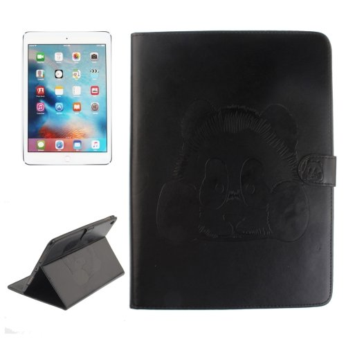 "For iPad Pro 9.7"" Black Embossed Panda Leather Case with Holder, Card Slots & Wallet"