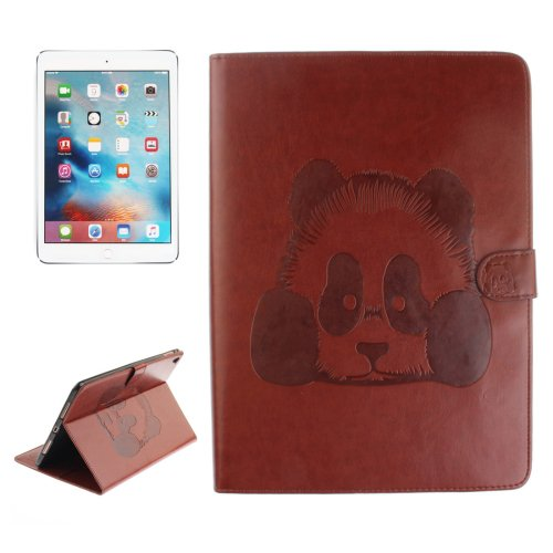 "For iPad Pro 9.7"" Coffee Embossed Panda Leather Case with Holder, Card Slots & Wallet"