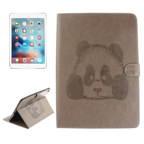 """For iPad Pro 9.7"""" Grey Embossed Panda Leather Case with Holder, Card Slots & Wallet"""