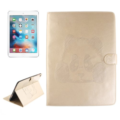"For iPad Pro 9.7"" Gold Embossed Panda Leather Case with Holder, Card Slots & Wallet"