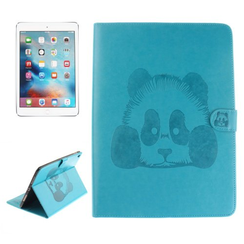 """For iPad Pro 9.7"""" Blue Embossed Panda Leather Case with Holder, Card Slots & Wallet"""