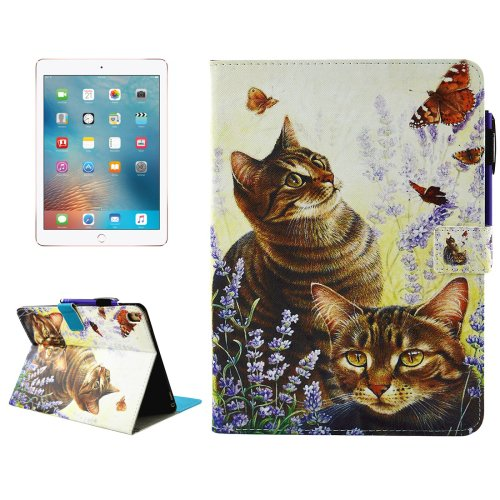 "For iPad Pro 9.7"" Cats Smart Cover Leather Case with Holder, Card/Pen Slots & Wallet"