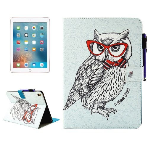 """For iPad Pro 9.7"""" Owl Smart Cover Leather Case with Holder, Card/Pen Slots & Wallet"""