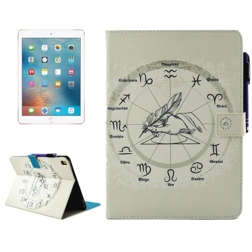 "For iPad Pro 9.7"" Zodiac Smart Cover Leather Case with Holder, Card/Pen Slots & Wallet"