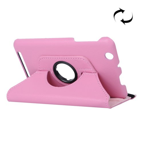 For Acer Iconia One 7 Pink Litchi Rotating Leather Case with 2 Gears Holder