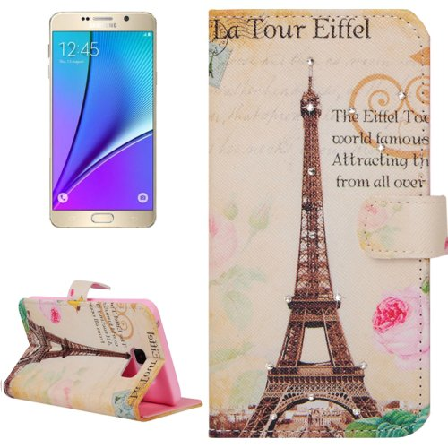 For Galaxy Note 5 Tour Eiffel Diamond Leather Case with Holder, Wallet & Card Slots