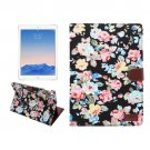 "For iPad Pro 9.7"" Black Flowers Cloth Leather Smart Case with Holder, Card Slots & Wallet"