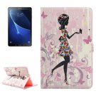 For Tab A 10.1/T580 Girl Skirt Pattern Diamond Leather Case with Holder