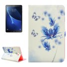 For Tab A 10.1/T580 Blue Flower Pattern Diamond Leather Case with Holder