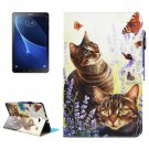 For Tab A 10.1/T580 Cats Smart Cover Leather Case with Holder, Card Slots & Wallet