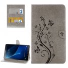 For Tab A 10.1/P580 Grey Butterlies Leather Case with Holder, Card Slots & Wallet