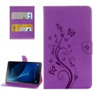 For Tab A 10.1/P580 Purple Butterlies Leather Case with Holder, Card Slots & Wallet