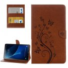 For Tab A 10.1/P580 Brown Butterlies Leather Case with Holder, Card Slots & Wallet