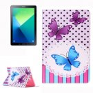 For Tab A 10.1/P580 Butterflies Pattern Leather Case with Holder, Card Slots & Wallet