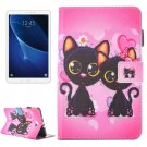 For Tab A 10.1/T580 Cat Couple Pattern Flip Leather Case with Holder & Card/Pen Slots