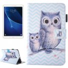 For Tab A 10.1/T580 Wave Owl Pattern Flip Leather Case with Holder & Card/Pen Slots