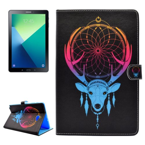 For Tab A 10.1/P580 Antlers Pattern Flip Leather Case with Holder, Card Slots & Wallet