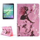 For Tab S2 9.7/T815 Girl and Butterfly Diamond Flip Leather Case with Holder