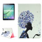 For Tab S2 9.7/T815 Blue Flower Girl Diamond Flip Leather Case with Holder