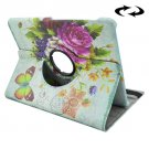 For Tab S2 8.0/T715 Flower Pattern Leather Case with 360° Rotation Holder
