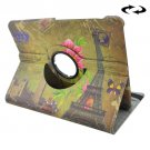 For Tab S2 8.0/T715 Eiffel Tower Pattern Leather Case with 360° Rotation Holder