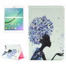 For Tab S2 8.0/T715 Blue Flower Girl Pattern Diamond Flip Leather Case with Holder