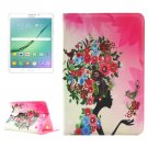 For Tab S2 8.0/T715 Flower Girl Pattern Diamond Flip Leather Case with Holder