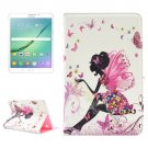 For Tab S2 8.0/T715 Butterfly Fairy Pattern Diamond Flip Leather Case with Holder