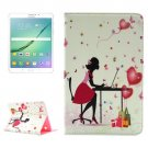 For Tab S2 8.0/T715 Relaxing Girl Pattern Diamond Flip Leather Case with Holder
