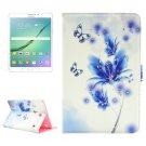 For Tab S2 8.0/T715 Blue Flower Pattern Diamond Flip Leather Case with Holder