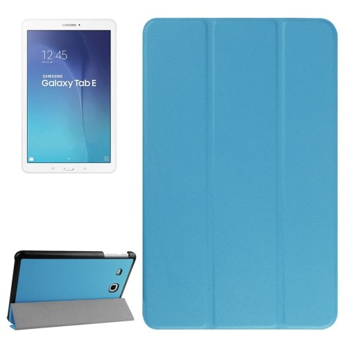 For Tab E 9.6 Blue Karst Texture Flip Leather Case with 3-folding Holder