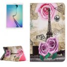 For Galaxy Tab E 9.6 Rose Tower Pattern Flip Leather Case with Holder