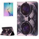 For Galaxy Tab E 9.6 Glasses Cat Pattern Flip Leather Case with Holder