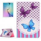 For Galaxy Tab E 9.6 Butterflies Pattern Flip Leather Case with Holder