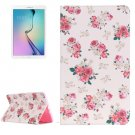 For Galaxy Tab E 9.6 Painting Rose Pattern Flip Leather Case with Holder